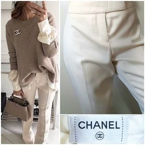 Chanel High Rise Wool Trouser Pants 36 Italian